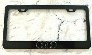 Audi 3d Chrome Logo Powder Coated Black Metal License Frame With Black Caps