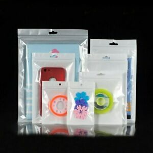 Retail White Clear Zip Lock Plastic Package Bags With Europe Hang Hole Pouches