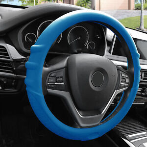 Blue Silicone Steering Wheel Cover For Auto Car Suv Universal Fitment