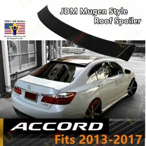 Fit For 2013 2017 Honda Accord 4 Dr Black Rear Roof Window Visor Spoiler Wings