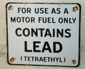 Contains Lead Gasoline Vintage Style Porcelain Signs Gas Pump Man Cave Station