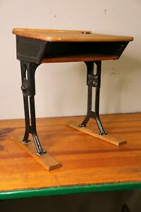 Vintage Antique Industrial Metal Child S Student School Desk With Wood Top