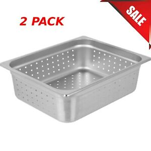2 pack Half Size 4 Deep Stainless Steel Perforated Steam Table Hotel Pans New