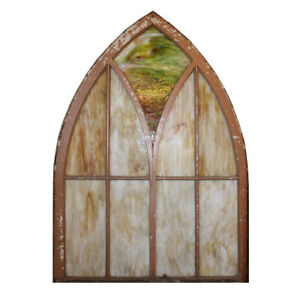 Antique Gothic Arch Window With Slag Glass Early 1900 S Nsg235