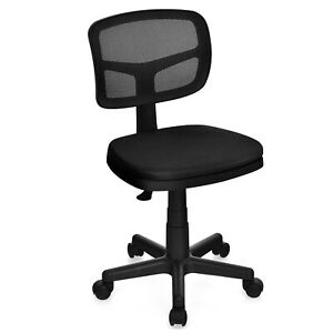 Costway Armless Office Chair Adjustable Swivel Mesh Desk Low back Chair Black