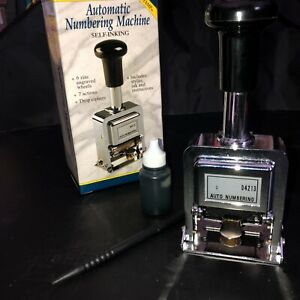 Rogers Automatic Numbering Stamp Machine With Ink And Stylus