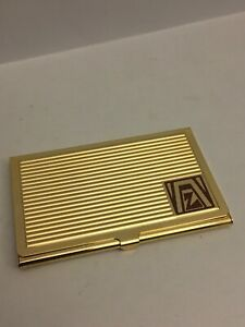Zonta 1992 Business Card Holder Vintage Great Condition Gold Tone