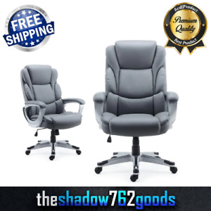 Bonded Leather Manager Chair Lumbar Support Home Office Comfortable Seat Gray