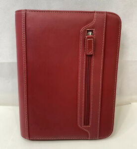 Foray Dark Red Faux Leather Full Zip Around 3 ring Planner Organizer 8x10 5