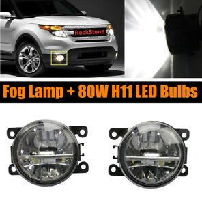 Pair Of Fog Light Driving Lamp 80w H11 Led Bulbs Right Left Side Pc Lens Fits 2012 Ford Focus