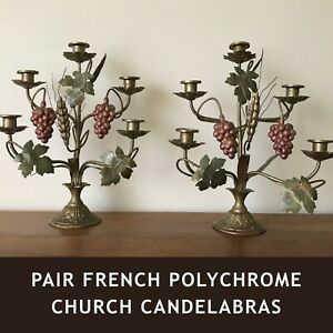 Pair Of Antique French Church Candelabras Gilded Brass Tole Rare Polychrome