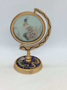 Vintage Chinese Asian Silk Embroidered Picture In Brass Enamel Frame Peacock