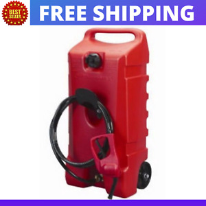 Fuel Gas Container Wheeled Hand Pump Transfer 14 Gal 10 Hose Marine Backyard