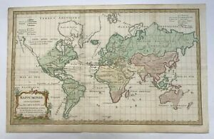 World Map Dated 1761 Robert De Vaugondy Antique Engraved Map 18th Century
