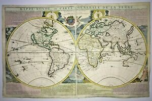 World Map 1718 Nicolas De Fer California As An Island Very Large Antique Map