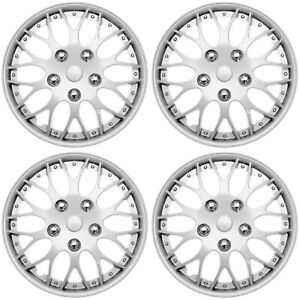 Set Of 4 New Hub Caps Abs Silver 14 Inch Rim Wheel Cover Hubcaps Cap Covers