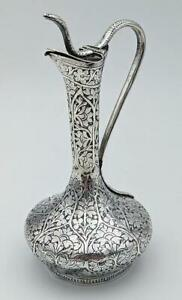 Kashmir Indian Antique Silver Jug 19th Century Islamic Art