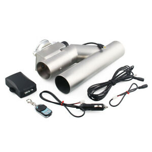 3 76mm Exhaust Control E cut Out Dual Valve Electric Y Pipe With Remote Kit Set