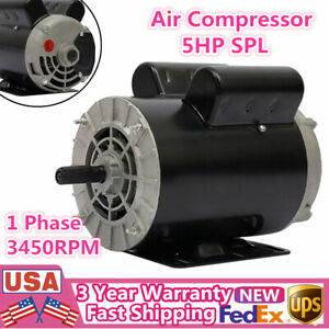 5hp Spl Air Compressor 1 Phase 208 230 Volts 3450rpm Electric Motor 5 8 Shaft