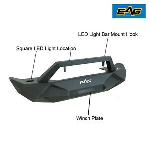 Eag Front Bumper W Winch Plate D ring Fit 07 18 Jeep Wrangler Jk