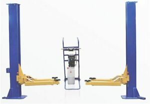 6600 Lbs Portable Blue Two Post Garage Lift Manual Two Sides Lock Release