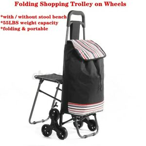 Folding Shopping Trolley Bag With Wheels Stool Foldable Portable Grocery Cart Us