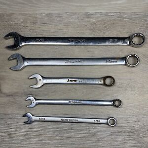 5 Snap On Blue Point Wrench Tools Lot 5 8 11 32 5 16 14mm 12mm Open End 12pt