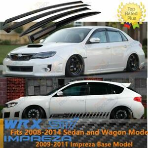 Fit 08 14 Subaru Wrx Sti 09 11 Impreza Window Visor Rain Wind Vent Guard Shade
