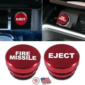 Fire Missile Eject Button Car Vehicle Cigarette Lighter Cover Replacement Decor