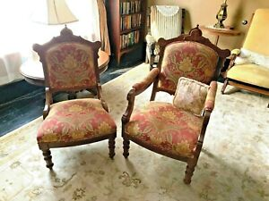 Chairs Victorian East Lake Side His And Hers 19th Century Walnut Beautiful