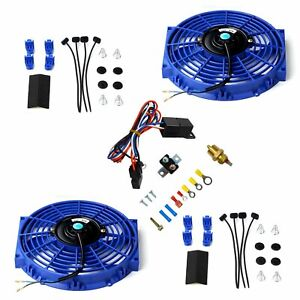 2x 10 Electric Radiator Cooling Fan Blue With Thermostat Relay Mounting Kit
