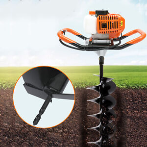 52cc Gas Engine Post Hole Digger Earth Auger Garden Yard Drill Machine W 3 bits