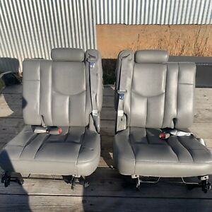 01 06 Chevy Tahoe Gmc Yukon Cadillac Escalade Third 3rd Row Seats Grey Leather