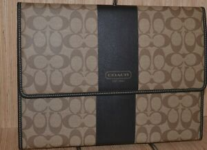 Coach F62494 Heritage Canvas Leather Mobile Office Organizer Khaki brown