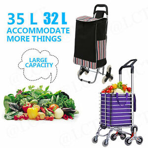 2 6 8wheel Folding Shopping Cart Grocery Trolley Laundry Stair Climbing Handcart