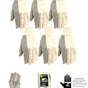 Wells Lamont canvas Work Gloves Economy Dotted 6 Pair Pack 309k