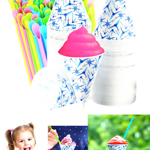 Set Of 400 200 Snow Cone Cups 6 Oz And 200 Sno cone Spoon Drinking Straws A