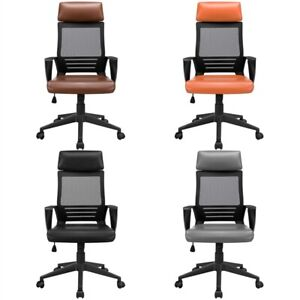 High Back Office Chair With Leather Padded Seat Computer Chairs With Armrests