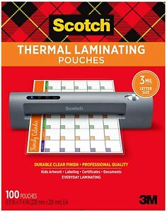 Scotch Thermal Laminating Pouches 8 9 X 11 4 Inches Letter Size Sheet 100 pack
