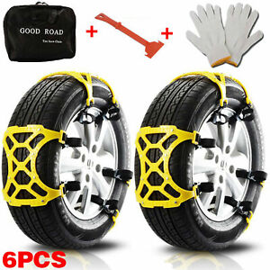 6pcs Snow Tire Chains For Car Suv Thickened Anti skid Emergency Strap Tpu Yellow