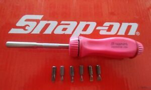 Pink Snap On Tools Hard Handle Magnetic Ratcheting Screwdriver W 6 Bits Ssdmr4b
