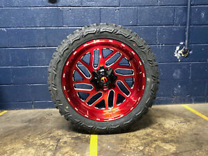 2 22x10 Fuel D691 Triton Red Wheels Rim 33 Mt Tires 6x135 Ford F150 Expedition