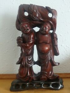 Antique Chinese Mahogany Woodcarving Qing Dynasty He He Er Xian China