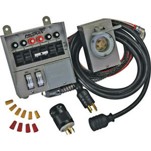 Portable Generator Power Transfer Switch Pre Wired 30 Amp 6 Circuit Load Center