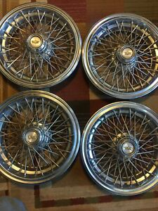 Set 4 1986 To 1996 Chevy Caprice 15 Locking Wire Spoke Hubcaps Set Complete Key