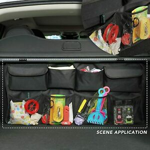 Car Suv Seat Back Hanging Organizer For Trunk Organizer Super Capacity Black
