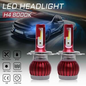 2x H4 9003 Led Headlight Headlamp Fog Kits Bulb 8000k Blue High Low Beam 97500lm