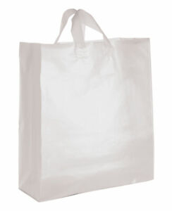 Jumbo Clear Frosted Plastic Shopping Bags Case Of 25