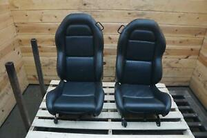 Set Of 2 Front Left Right Driver Passenger Seat Black Leather Dodge Viper 00 02