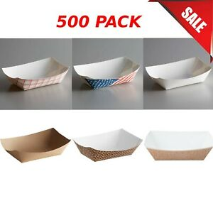 500 pack 3 Lb restaurant Paper Food Tray Disposable Take out Container Durable